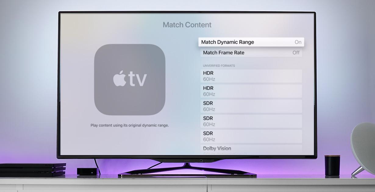 Apple TV ja sisällön täsmäytyksen asetukset